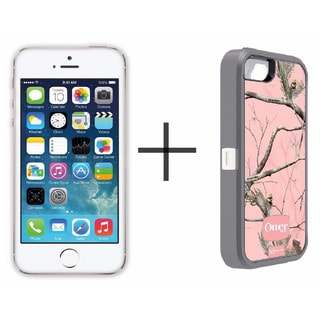 Apple iPhone 5s 32GB Unlocked GSM -Gold (Refurbished)+ OtterBox Defender Series Case - Camo Pink