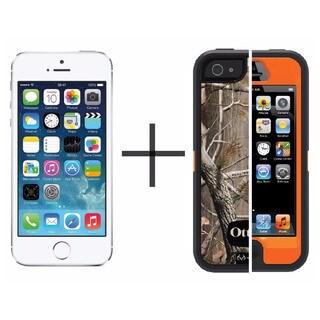Apple iPhone 5s 32GB Unlocked GSM -Silver (Refurbished)+ OtterBox Defender Series Case - Camo Blazed