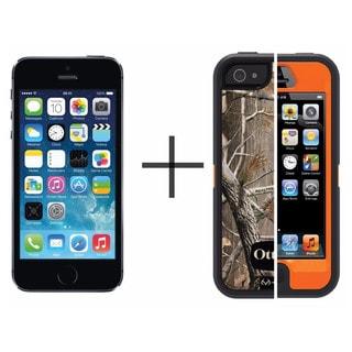 Apple iPhone 5s 32GB Unlocked GSM -Gray (Refurbished) + OtterBox Defender Series Case - Camo Blazed