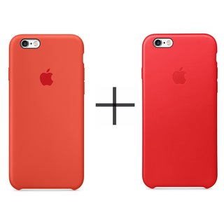 Apple iPhone 6/6s Leather Case - Red + Apple iPhone 6/6s Silicone Case - Orange