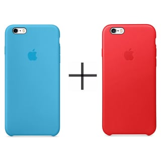 Apple iPhone 6/6s Leather Case - Red + Apple iPhone 6/6s Silicone Case - Blue