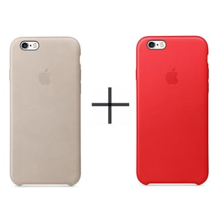 Apple iPhone 6/6s Leather Case - Red + Apple iPhone 6/6s Leather Case - Rose Gray
