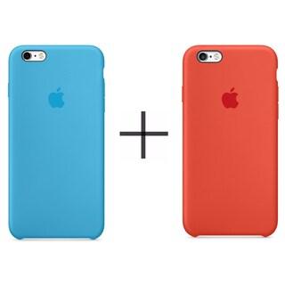Apple iPhone 6 Plus/6s Plus Silicone Case - Blue + Apple iPhone 6 Plus/6s Plus Silicone Case - Orange