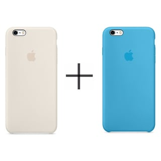 Apple iPhone 6 Plus/6s Plus Silicone Case - Antique White + Apple iPhone 6 Plus/6s Plus Silicone Case - Blue
