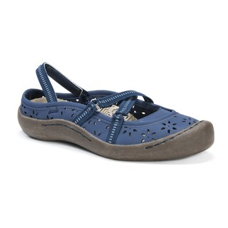 MUK LUKS Women's Erin Blue Floral-design Elastic-strap Shoes