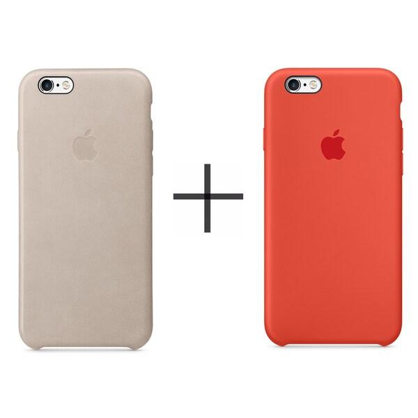 sale retailer 2ad8a a7c80 Shop Apple iPhone 6 Plus/6s Plus Leather Case - Rose Gray + Apple ...