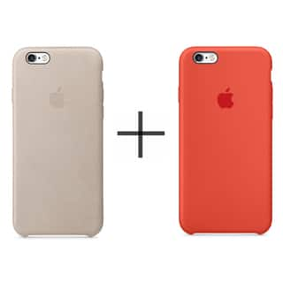 Apple iPhone 6 Plus/6s Plus Leather Case - Rose Gray + Apple iPhone 6 Plus/6s Plus Silicone Case - Orange (Option: Orange)|https://ak1.ostkcdn.com/images/products/14085983/P20696286.jpg?impolicy=medium