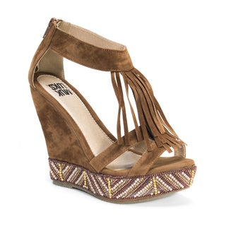 MUK LUKS Women's Ciara Brown Wedge Sandals