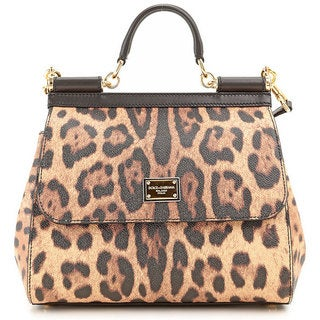 Dolce & Gabbana 'Sicily' Leather Leopard Tote Handbag (As Is Item)