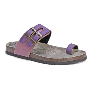 Muk Luks Women's Daisy Purple EVA, Suede Sandals
