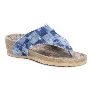 Muk Luks Women's Sue Ellen Blue Suede Sandals