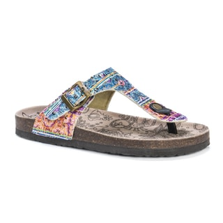 MUK LUKS Women's Tina Multicolored Suede Sandals
