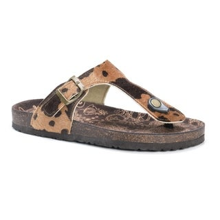 Muk Luks Women's Tina Brown Suede Sandals