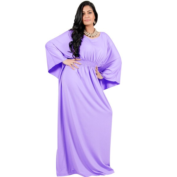 Adelyn & Vivian Women's Plus Size Long Batwing Sleeve Cocktail Formal Maxi Dress