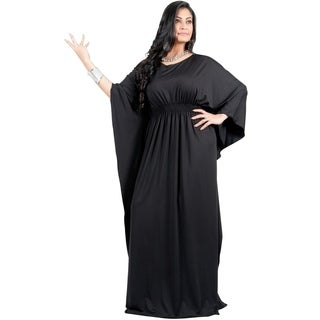 Adelyn & Vivian Women's Plus Size Long Batwing Sleeve Cocktail Formal Maxi Dress