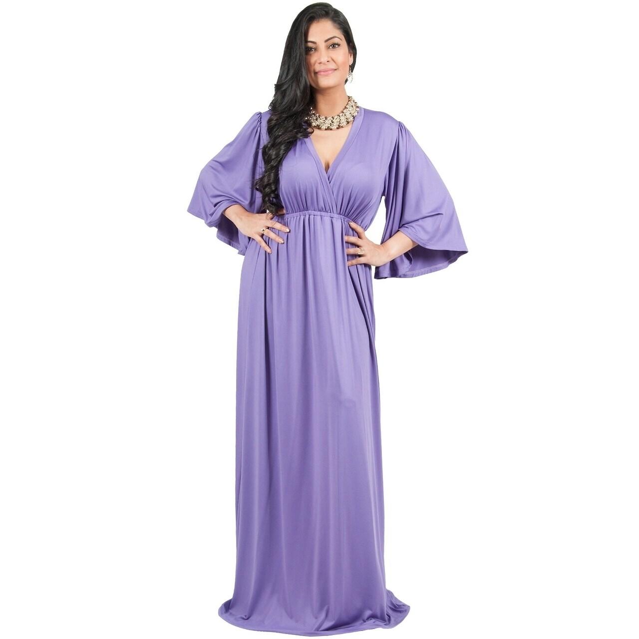 Adelyn & Vivian Women\'s Plus-size Long Kimono Formal Flowy Evening Maxi  Dress
