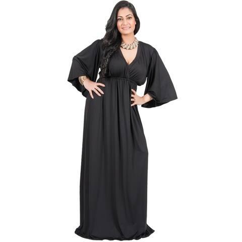 Adelyn & Vivian Women's Plus-size Long Kimono Formal Flowy Evening Maxi Dress