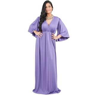 Adelyn Vivian Women's Plus-size Long Kimono Formal Flowy Evening Maxi Dress