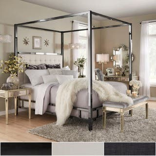 solivita black nickel metal queen size canopy poster bed by inspire q bold - White Leather Bed Frame
