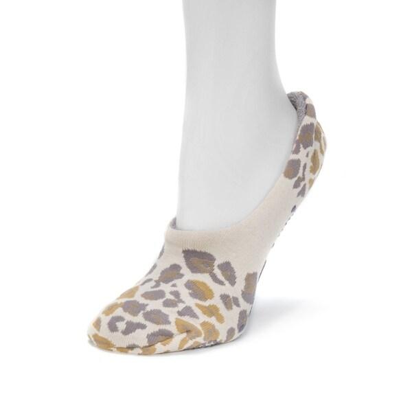 Muk Luks Women's Tan Cotton, Spandex, and Nylon Ballerina Slipper Socks