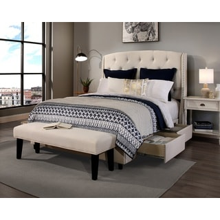 Republic Design House Queen Size Peyton Ivory Headboard, Storage Bed and Bench Collection