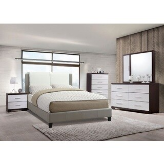 Barda Grey Faux Leather 4-Piece Queen-size Bedroom Set