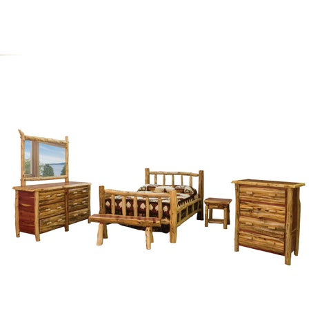 Rustic Red Cedar Log Mission Style Bed with Double Side Rail Bedroom Set