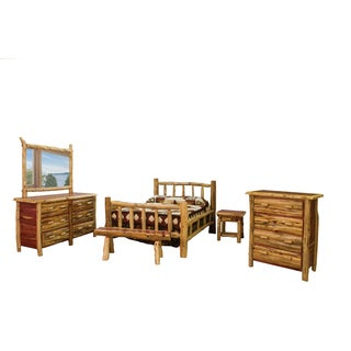 Shop Red Cedar Log Queen Size 5 Pc Bedroom Furniture Set Free Shipping Today Overstock