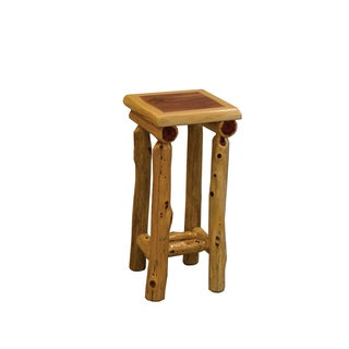 Rustic Red Cedar Log Small Nightstand / End table - Amish