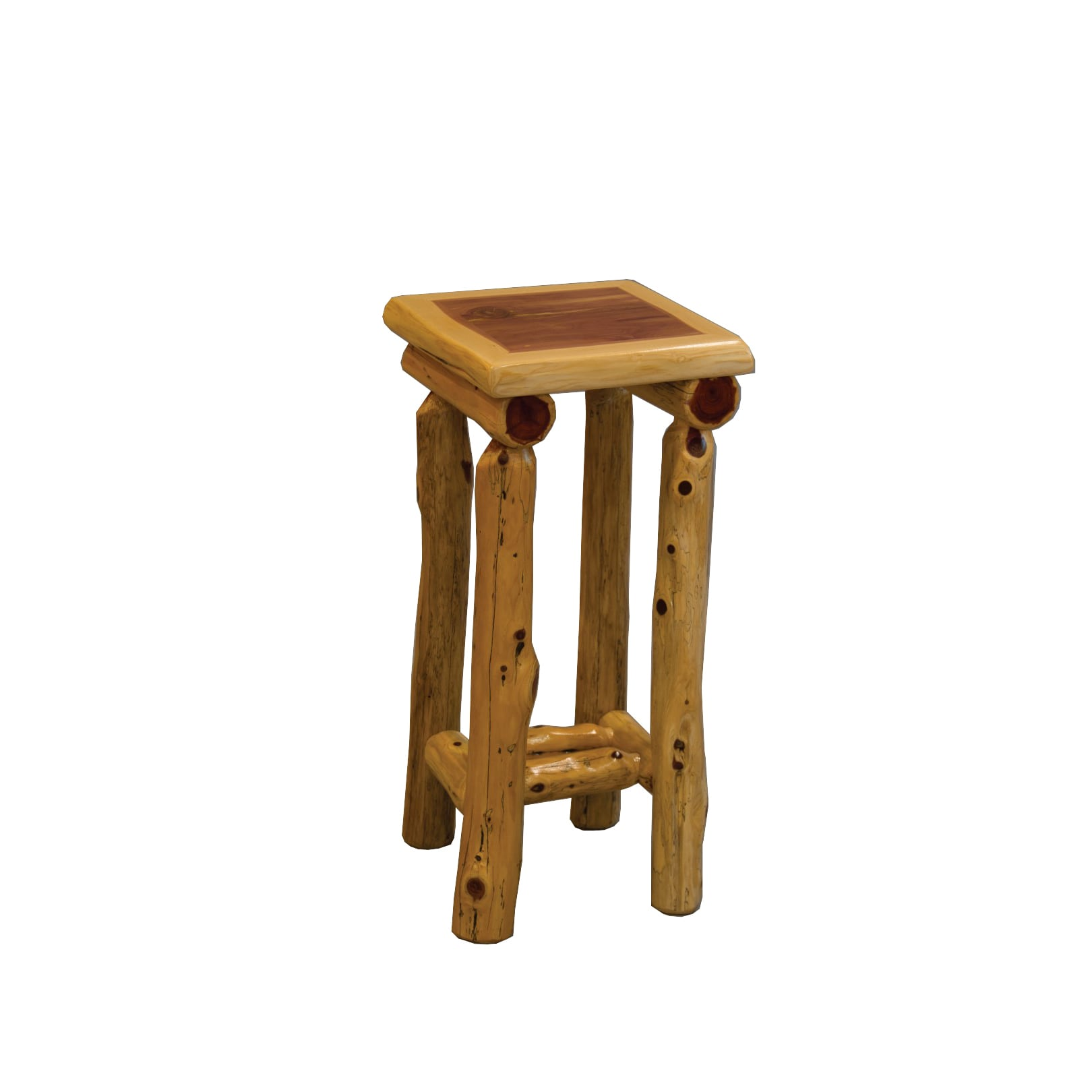 Rustic Red Cedar Log Small Nightstand End Table Amish
