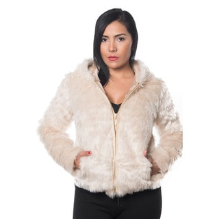 Soecial One Women's Beige Faux Fur Zip Hooded Jacket