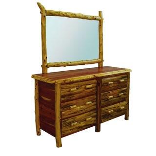 Rustic Red Cedar Log 6 Drawer Dresser with Mirror - Amish