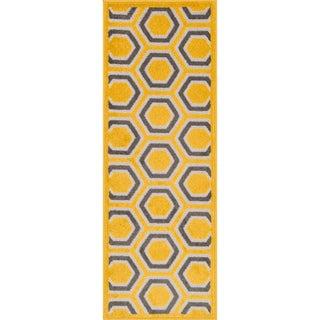 Palm Lemon/ Grey Geometric Rug (1'8 x 5')