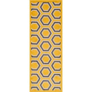"Palm Lemon/ Grey Geometric Rug - 1'8"" x 4'11"""