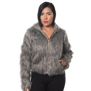 Special One Women's Grey Faux-fur Zip-up Hooded Jacket