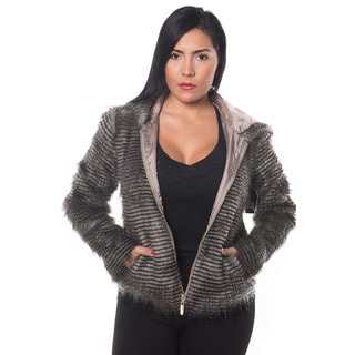 Special One Women's Grey Faux Fur Zip-up Hooded Jacket
