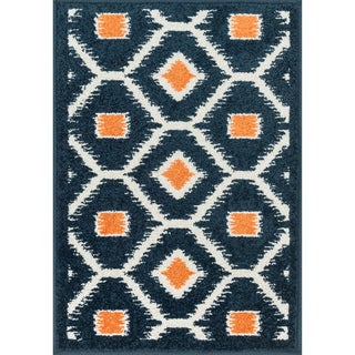 Palm Navy/ Orange Geometric Rug (1'8 x 2'6)