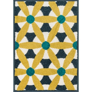 Palm Navy/ Multi Geometric Rug (1'8 x 2'6)