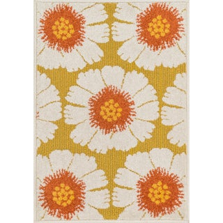 Palm Citron/ Multi Floral Rug (1'8 x 2'6)