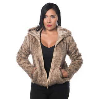 Special One Women's Faux Fur Zip-up Hooded Jacket