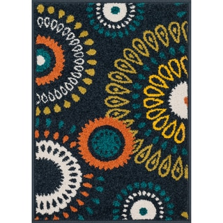 Palm Navy/ Multi Medallion Rug (1'8 x 2'6)