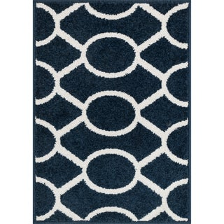 Palm Navy/ Ivory Geometric Rug (1'8 x 2'6)