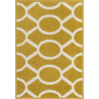 Palm Citron/ Ivory Geometric Rug (1'8 x 2'6)
