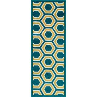 Palm Peacock/ Citron Geometric Rug (1'8 x 5')