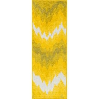 Palm Ivory/ Citron Ikat Rug (1'8 x 5')