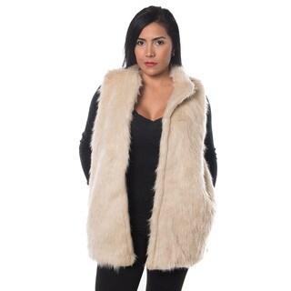 Special One Women's Beige Cotton Faux Fur Open-front Mid-length Vest