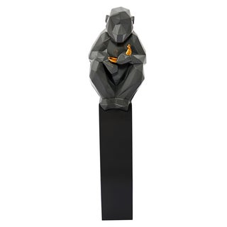 Monkey with Banana Sculpture - Grey and Gold