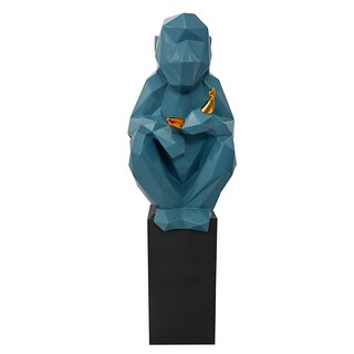 Monkey with Banana Large Sculpture - Blue and Gold