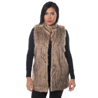 Special One Women's Brown Faux-fur Open-front Mid-length Vest