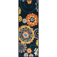 "Palm Navy/ Multi Floral Rug - 1'8"" x 4'11"""